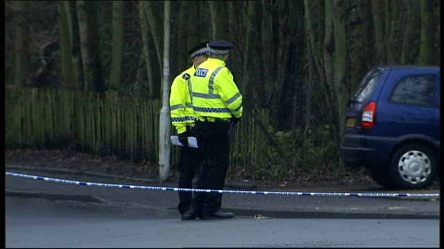 Scene where body was found SCOTLAND Fife Kirkcaldy Dunvegan Avenue EXT Police tape sealing off road leading to site where the body of threeyearold...