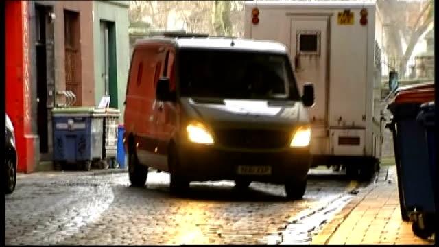Prison van arrivals SCOTLAND Edinburgh PHOTOGRAPHY*** Media outside court / Various G4S vans arriving then entering through gate / Various shots...