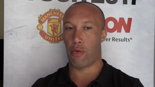 mikaël silvestre comments on manchester united's current form as the retired defender joins his old side in los angeles on their summer tour. - silvestre stock videos & royalty-free footage