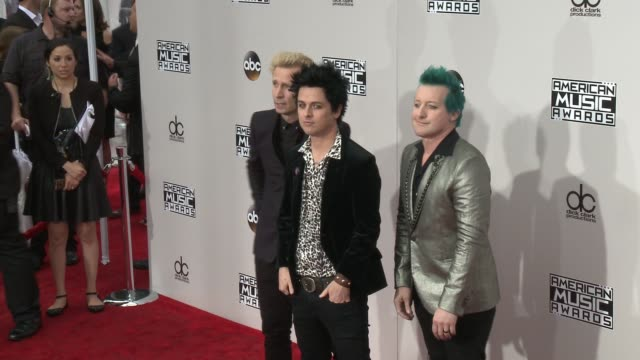 mike dirnt billie joe armstrong and tré cool at 2016 american music awards at microsoft theater on november 20 2016 in los angeles california - american music awards stock videos and b-roll footage