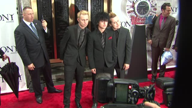 Mike Dirnt Billie Joe Armstrong and Tre Cool of Green Day at the 64th Annual Tony Awards at New York NY