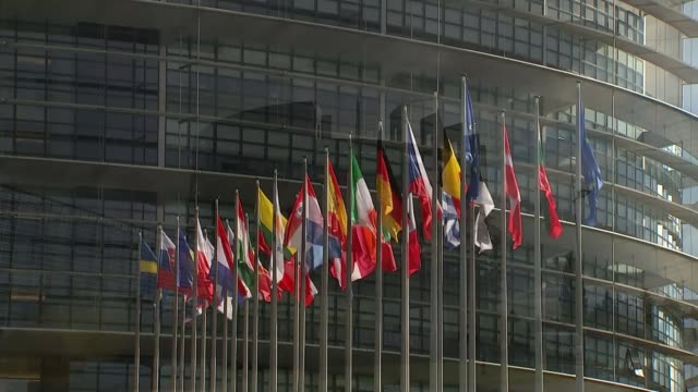 mike hookem denies punching colleague steven woolfe france strasbourg louise weiss building ext general view flags wide shot louise weiss building - 全体撮影点の映像素材/bロール