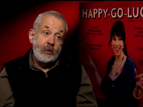 mike leigh on why he wanted to put sally hawkins in the lead role and how they developed the character of poppy at the 'happygolucky' junket at null... - sally hawkins stock-videos und b-roll-filmmaterial