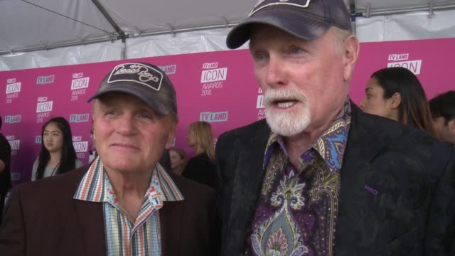 interview mike love bruce johnston on why they wanted to help honor john stamos at tv land icon awards arrivals in los angeles ca - mike love stock videos & royalty-free footage