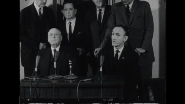 mike mansfield and democratic leadership and speaker of the house sam rayburn speak to reporters about president john f kennedy bills and popularity - sam rayburn video stock e b–roll