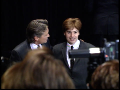 mike myers and michael douglas smile for photographers - friars roast 1993 stock videos and b-roll footage