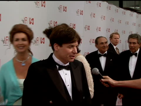 mike myers being interviewed by the media at the 34th afi life achievement award: a tribute to sean connery at the kodak theatre in hollywood,... - afi life achievement award stock videos & royalty-free footage