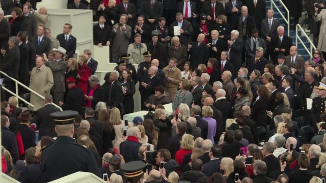 mike pence arrives shakes hands with the former presidents clinton bush obama for 2017 inauguration vice president - präsident stock-videos und b-roll-filmmaterial