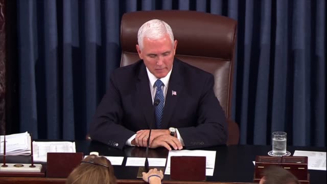 mike pence presiding over the senate asks for sufficient second before ordering the clerk to call the roll on a vote to confirm judge brett kavanaugh... - senate stock videos & royalty-free footage