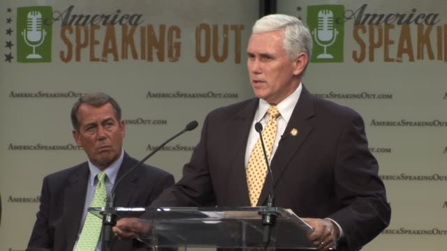 Mike Pence republican representative of Indiana participates in a Republican party event America Speaking out in his role as chair of the Republican...