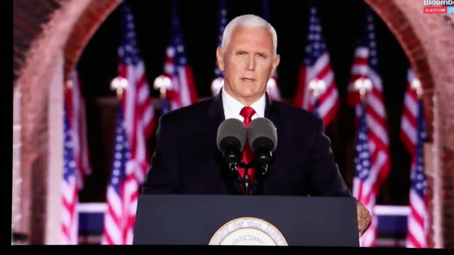 mike pence speaking at republican party national convention streamed in tiskilwa, illinois, u.s., on thursday, august 27, 2020. - 米国大統領選挙点の映像素材/bロール