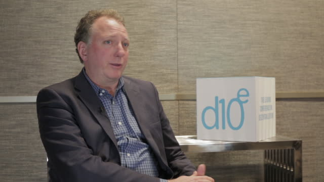 mike reaves, ceo and co-founder of cashbet, talks about financial analyst's view of cryptocurrency at d10e in silicon valley, ca/usa on february 2018. - financial analyst stock videos & royalty-free footage