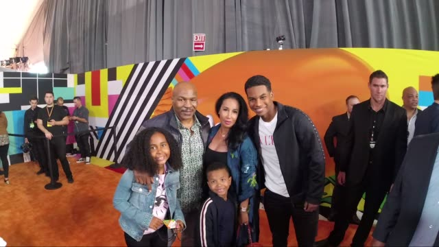 mike tyson lakiha spicer milan tyson miguel leon tyson and morocco tyson at nickelodeon's 2018 kids' choice awards alternative views at the forum on... - nickelodeon kid's choice awards stock videos & royalty-free footage