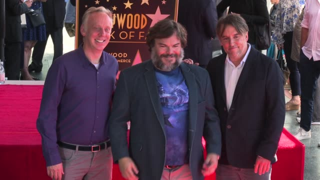 stockvideo's en b-roll-footage met mike white jack black and richard linklater at the jack black honored with a star on the hollywood walk of fame on september 18 2018 in hollywood... - richard linklater