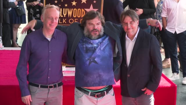 stockvideo's en b-roll-footage met mike white jack black richard linklater at jack black honored with a star on the hollywood walk of fame - richard linklater