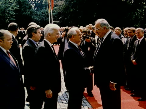 mikhail gorbachev and helmut kohl meet in bonn shaking hand audio / germany - 1989 stock videos & royalty-free footage