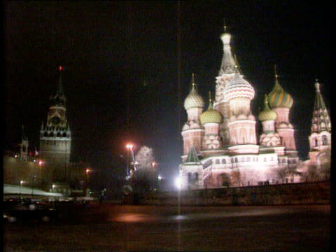 Mikhail Gorbachev resigns as President USSR Moscow Red Square Kremlin Illuminated St Basil's Cathedral seen across square LA LMS Russian Federation...