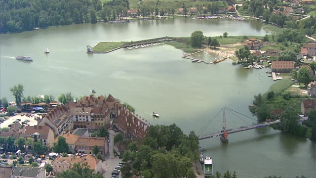 Mikolajki, Poland. The bridge in the town. Sailing boats. Port and sailing village.