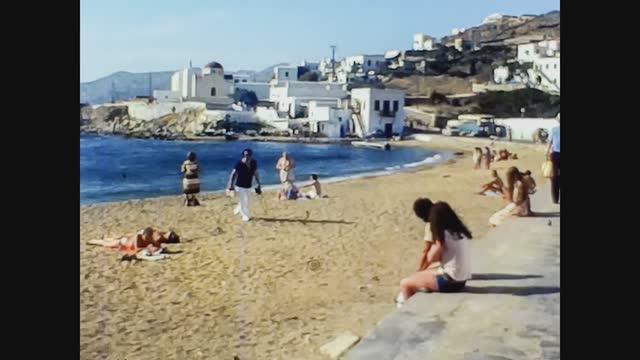 mikonos seashore with panorama in 70's - santorini stock videos & royalty-free footage