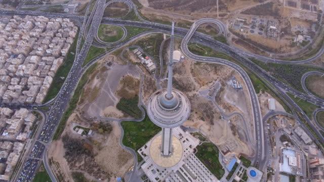 vídeos y material grabado en eventos de stock de milad tower at sunset in tehran, iran. - david ewing