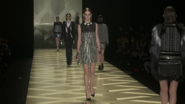 milan fashion week a/w 2013 - roberto cavalli on february 23, 2013 in milan, italy - roberto cavalli designer label stock videos & royalty-free footage