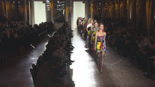 milan fashion week a/w 2018 - versace on february 23, 2018 in milan, italy. - versace designer label stock videos & royalty-free footage