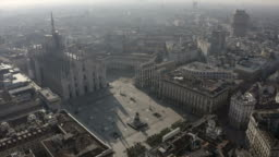 Milan Italy Covid-19 Epidemic Aerial View Piazza Duomo