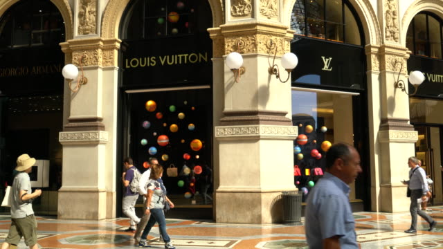 Milan, Luxury stores in the Galleria Vittorio Emanuele.