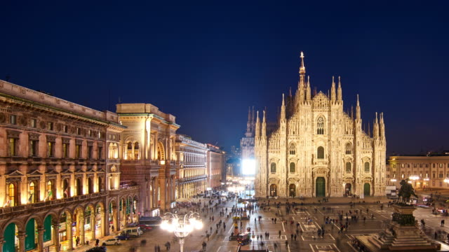 4k: milan piazza del duomo and galleria vittorio emanuele ii at day to night time lapse, italy - cathedral stock videos & royalty-free footage