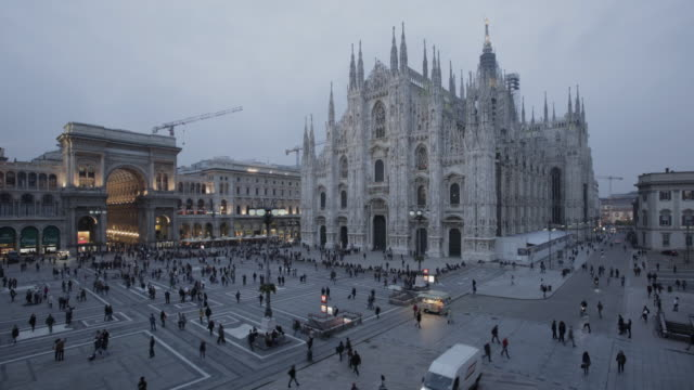 milan piazza duomo time lapse - light natural phenomenon stock videos and b-roll footage