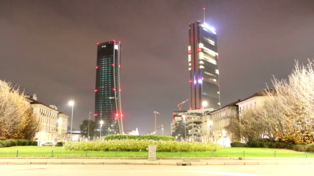 milan residential district night timelapse - milano video stock e b–roll