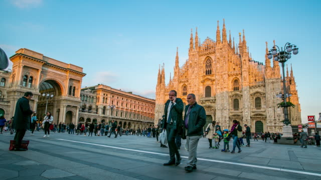 milano cathedral duomo center of city in the morning - milan stock videos & royalty-free footage