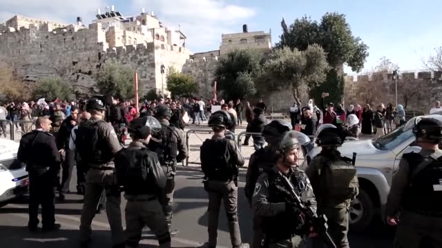 mild clashes erupted on saturday outside the damascus gate of jerusalems old city after palestinian protesters organised a demonstration calling on... - jerusalem old city stock videos and b-roll footage