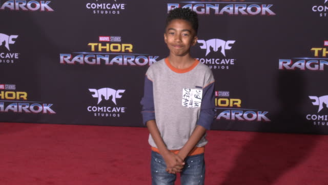 miles brown at the thor ragnarok premiere at the el capitan theatre on october 10 2017 in hollywood california - thor: ragnarok stock videos & royalty-free footage