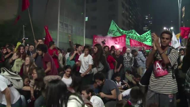 miles de brasilenos marcharon contra la copa del mundo el jueves en varias ciudades del pais a solo 28 dias del mundial - afp stock videos & royalty-free footage