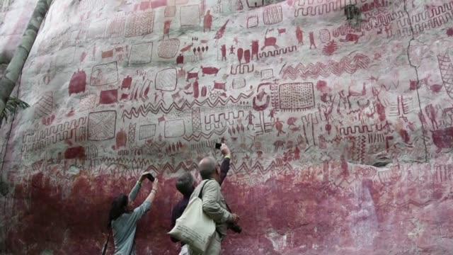 miles de murales rupestres en la selva amazonica comienzan a ser estudiados tras permanecer ocultos durante anos por la guerra interna de colombia - arqueologia stock videos & royalty-free footage