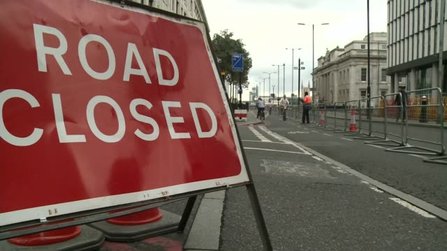 miles of roads in central london closed for 'car free day'; uk, england, london; various shots of car free streets at bank junction and tower bridge,... - road closed englisches verkehrsschild stock-videos und b-roll-filmmaterial
