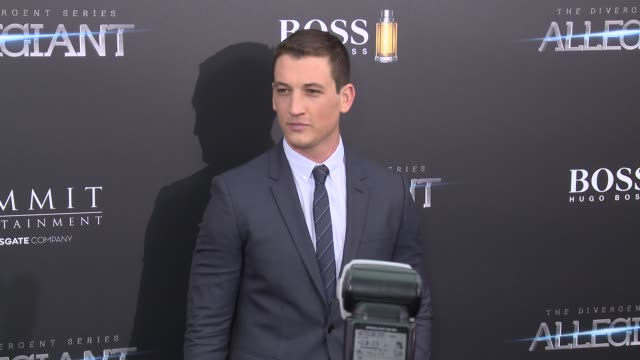miles teller at allegiant new york premiere at amc loews lincoln square 13 theater on march 14 2016 in new york city - amc loews stock videos and b-roll footage