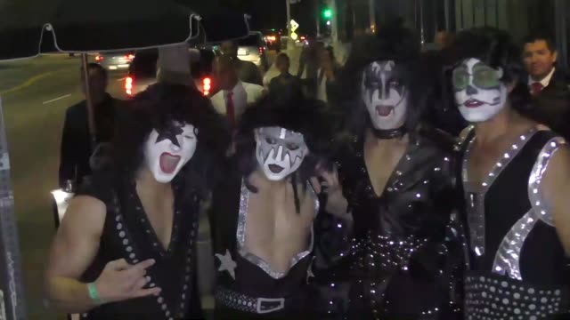 stockvideo's en b-roll-footage met interview miles teller dressed as gene simmons talks about his favorite kiss song outside the just jared halloween party at tenants of the trees in... - gene simmons