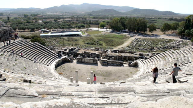 miletus ancient greek city amphitheater - miletus stock videos and b-roll footage