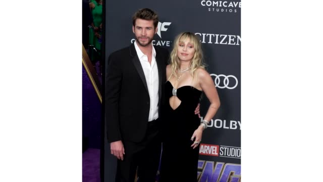 Miley Cyrus and Liam Hemsworth at the World Premiere of Marvel Studios' 'Avengers Endgame' at Los Angeles Convention Center on April 22 2019 in Los...