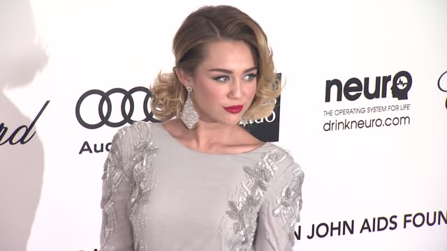 Miley Cyrus at Elton John Aids Foundation Celebrates 20th Annual Academy Awards Viewing Party on 2/26/12 in Hollywood CA