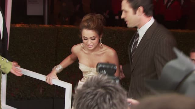 miley cyrus at the 18th annual elton john aids foundation oscar party at west hollywood ca. - oscar party stock videos & royalty-free footage