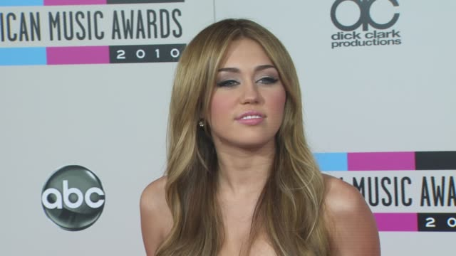miley cyrus at the 2010 american music awards arrivals at los angeles ca - american music awards stock videos and b-roll footage