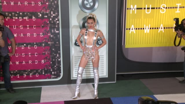 miley cyrus at the 2015 mtv video music awards at microsoft theater on august 30, 2015 in los angeles, california. - 2015 stock videos & royalty-free footage