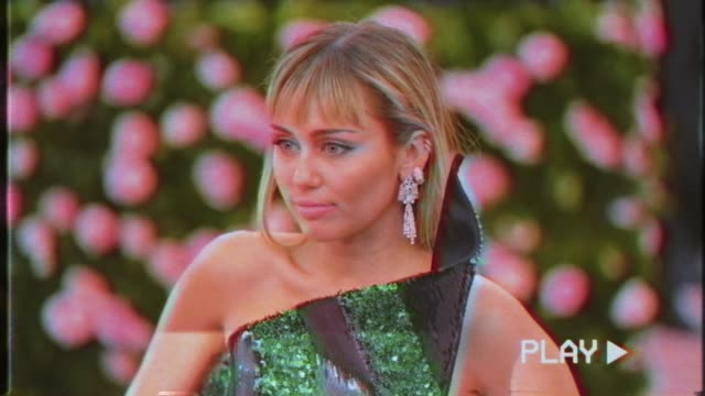 first miley cyrus at the 2019 met gala celebrating camp notes on fashion graphic social at metropolitan museum of art on may 6 2019 in new york city - met gala 2019 stock videos and b-roll footage