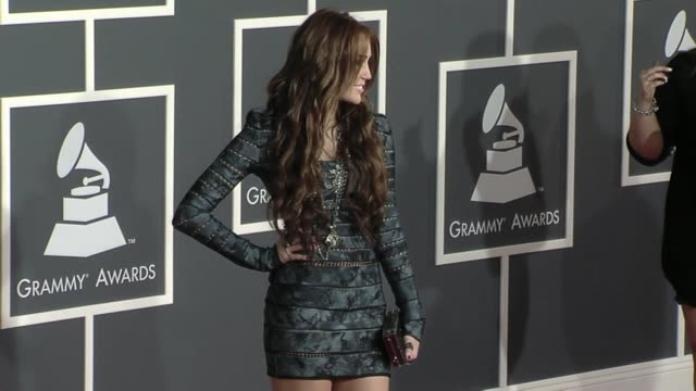 Miley Cyrus at the 52nd Annual GRAMMY Awards Arrivals at Los Angeles CA