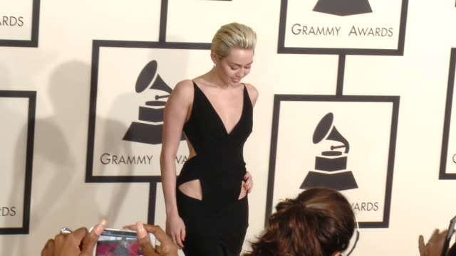 Miley Cyrus at The 57th Annual Grammy Awards Red Carpet at Staples Center on February 08 2015 in Los Angeles California