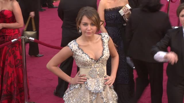 miley cyrus at the 81st academy awards arrivals at los angeles ca. - 2009 stock videos & royalty-free footage