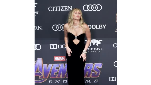 Miley Cyrus at the World Premiere of Marvel Studios' 'Avengers Endgame' at Los Angeles Convention Center on April 22 2019 in Los Angeles California